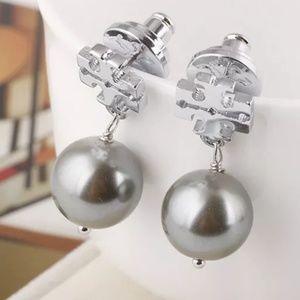 Tory Burch Silver Drop Pearl Logo Earrings